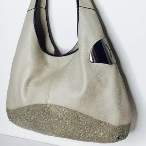 0d3ec2f7864 Halston Heritage Bags - Halston Heritage grey Twotone Leather Sack Hobo